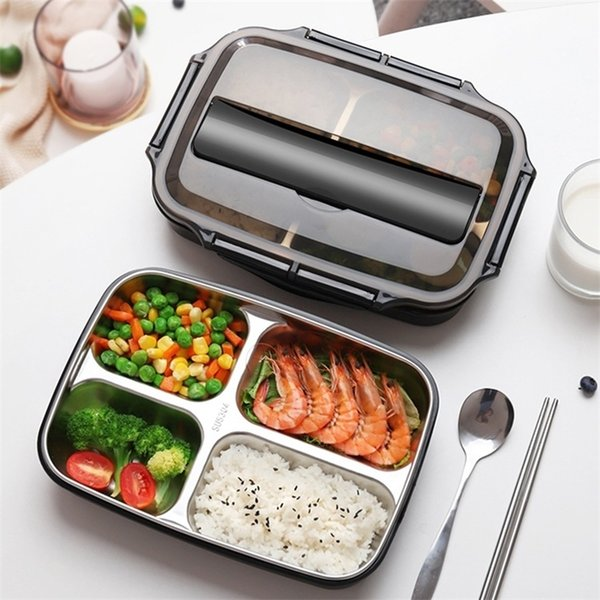 best selling Stainless Steel Thermal Lunch Box Containers with Compartments Leakproof Bento Box Food Container Picnic Office School Lunchbox 201210