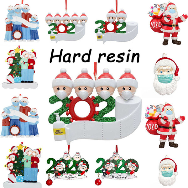 top popular 72-hour free air freight, resin Christmas pendant wholesale price DIY name greetings personalized home decoration 2020 quarantine decoration 2020