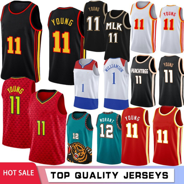 ja 12 morant men jerseys zion trae 1 williamson 11 young 23 basketball jerseys stock s-xxl 2021 new jersey, Black;red