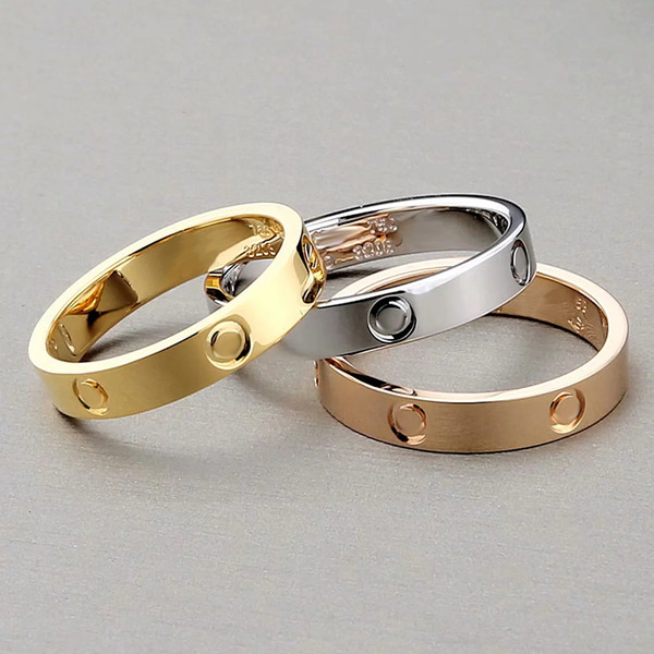 top popular 2020 New Classic Stainless Steel Gold Love Married Engagement Couple Ring For Women Fashion Eternal Love Jewelry For Women Christmas Gift 2021