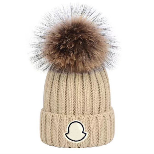 best selling Adults Thick Warm Winter Hat For Women Soft Stretch Cable Knitted Pom Poms Beanies Hats Womens Skullies Beanies Girl Ski Cap Beanie Caps