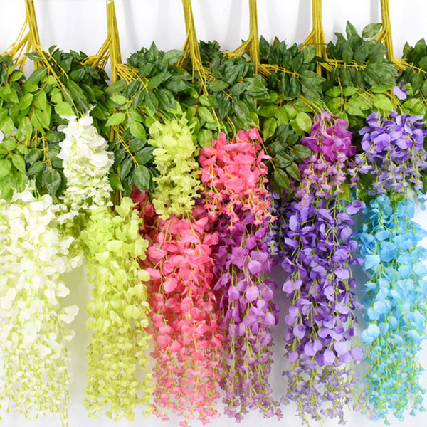 best selling 7 Colors Elegant Artificial Silk Flower Wisteria Flower Vine Rattan For Home Garden Party Wedding Decoration 10cm Available