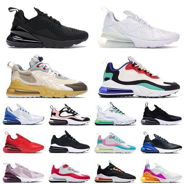 best selling New Quality 270 React ENG Travis Scott Cactus Jack Running Sport Shoes Triple Black ALL White Worldwide Mens Womens Trainers Sneakers 36-45