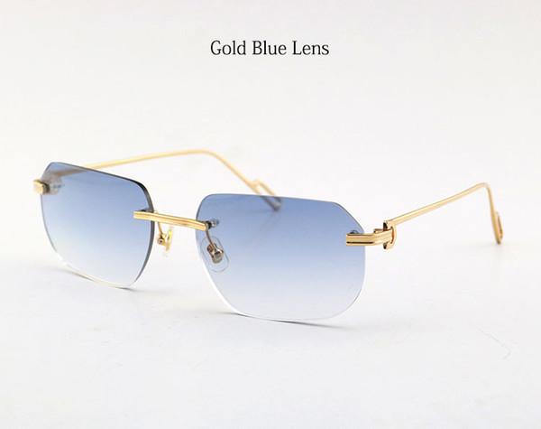 عدسة ذهبية زرقاء