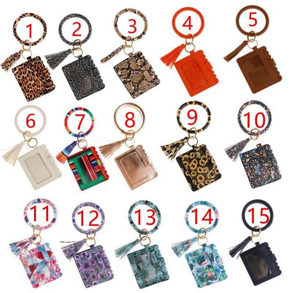best selling Leopard Print PU Leather Tassel Pendant Bracelet Ladies Leather Keychain Bracelet Wallet Mobile Phone Bag Card package Business card holder