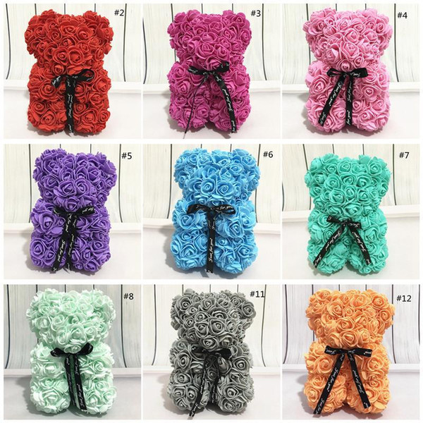 US STOCK Rose Teddy Bear Valentines Day Gift 25cm Flower Party Favor Artificial Decoration Christmas present for Women