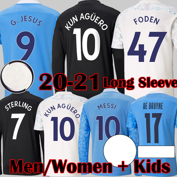 best selling MESSI 2020 2021 City Long Sleeve Soccer Jerseys DE BRUYNE KUN AGUERO football shirt FODEN Equipment City 20 21 Man Kids kits