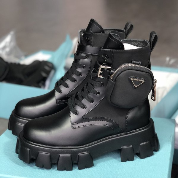 best selling High Quality Winter Women Boots Calfskin Martin Boots Detachable Nylon Pouch Combat Boots Ladies Outdoor Thick Bottom Shoes Mid-length Boot
