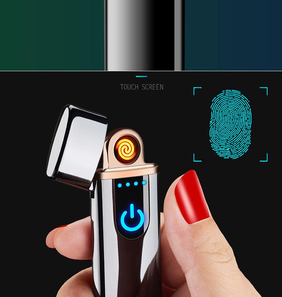 top popular Wholesale USB Rechargeable Lighters Electronic Cigarette Lighter Flameless Touch Screen Switch Colorful Windproof Lighter fast DHL 2021