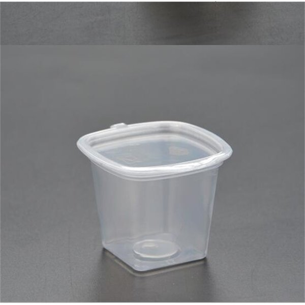 best selling cup 1oz sauce 30ml tasting disposable PP transparent hard plastic with cover connected free shipping 500pcs