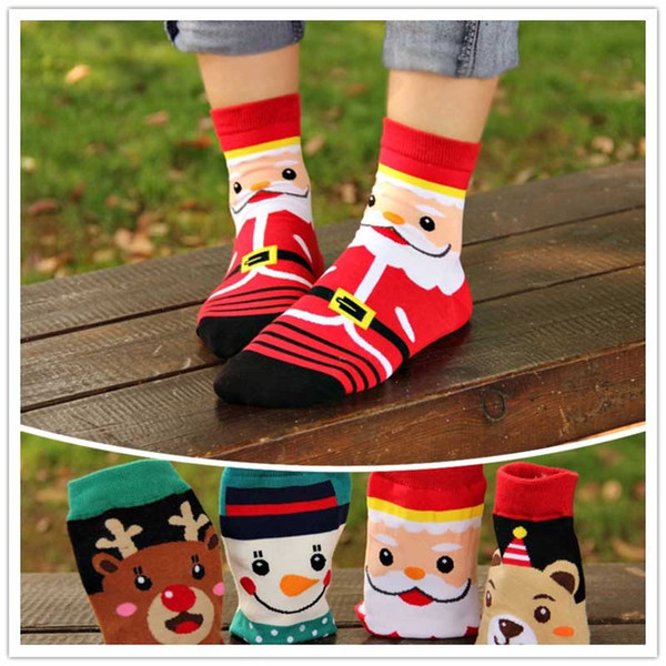 best selling 2019 New Christmas Cartoon Santa Elk Happy Socks 4 Designs Moose Funny Winter Ankle Cotton Female Socks Happy Christmas
