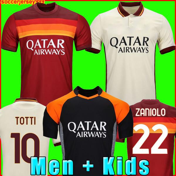 top popular Soccer jersey ZANIOLO ROMA DZEKO PASTORE rome TOTTI KLUIVERT KOLAROV AS 20 21 football shirt 2020 2021 Men + Kids kit uniforms maillot 999 2021