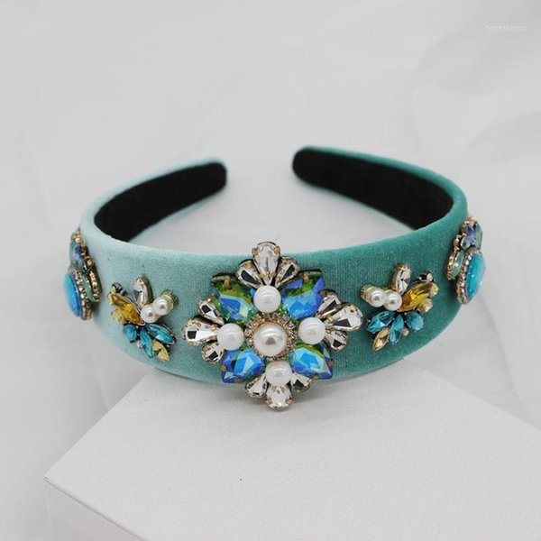 best selling Street beat gorgeous wild exaggerated headband New Baroque fashion colored rhinestones pearl flower catwalk headband 5211