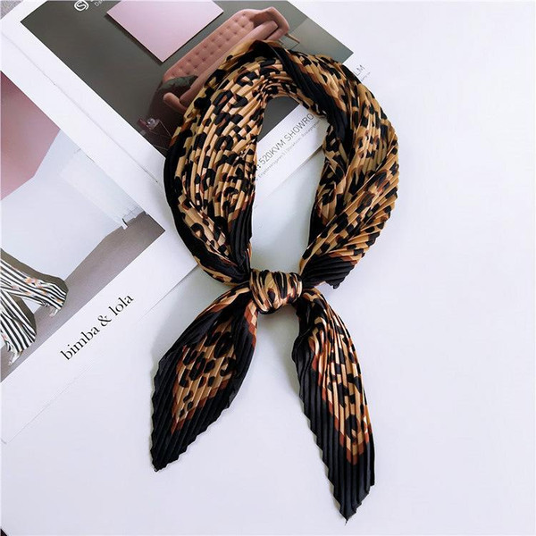 top popular 55*55cm Fashion Leopard Pleated Stretchy Square Crinkle Silk Small Neck Scarf Women Dot Crumple Bandana Neckwear Handkerchief 2021