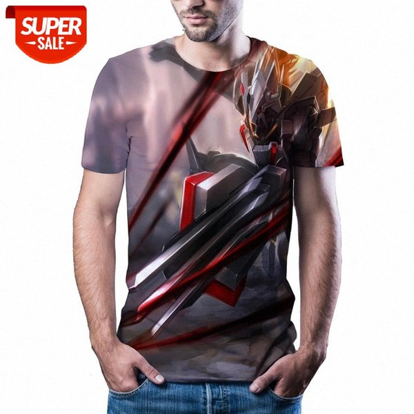 top popular New T-shirt men's high-quality men's T-shirt anime short-sleeved 3D character printing fashion cool men #R58b 2021