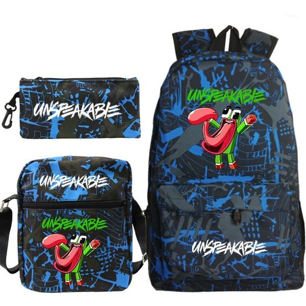 top popular UNSPEAKABLE 3Pcs Set Backpack Students Schoolbags Pencil Case Shoulder Bags UNSPEAKABLE Boys Girls Back to School Bacpack1 2021