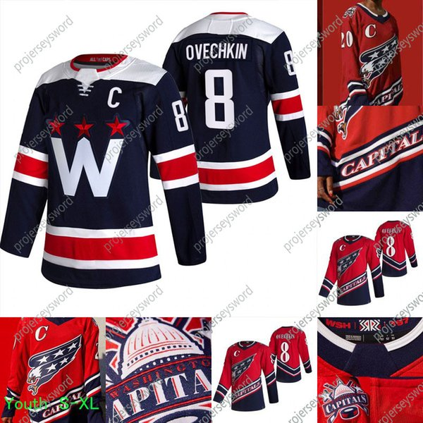top popular Washington Capitals Alex Ovechkin 2021 Reverse Retro Jersey Zdeno Chara Henrik Lundqvist Nickla Backstrom Tom Wilson Braden Holtby Carlson 2021