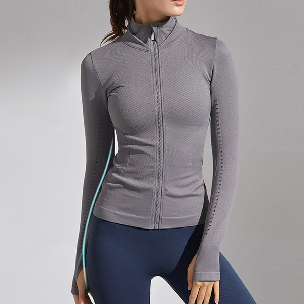 best selling Autumn and Winter New Zipper Long-sleeved Sports Jacket Women's Thin and Quick-drying Yoga Wear Running Fitness Sports Top