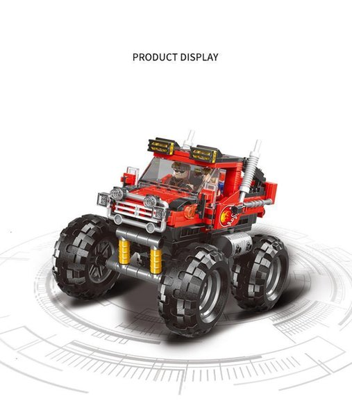 top popular Super Bigfoot toy car building blocks assembled small particles assembled toy car with people 2020