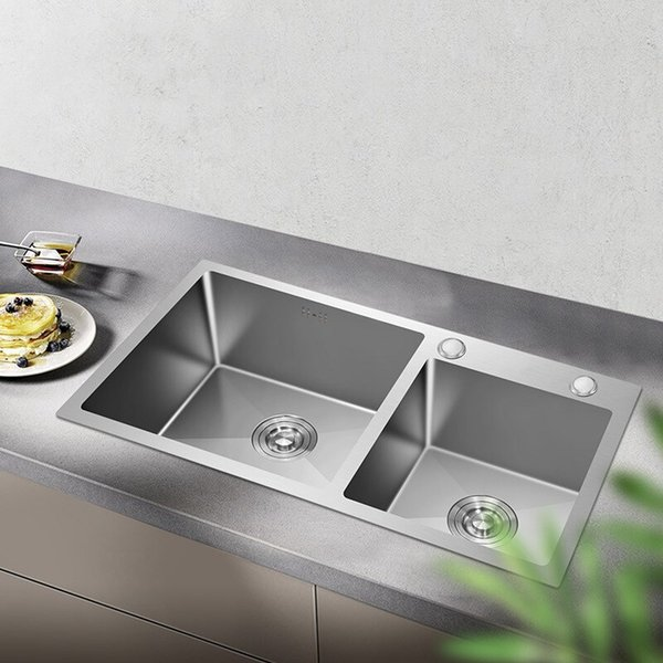 top popular FreeShipping Kitchen Sinks Stainless Steel Double Bowl Brushed Silver Above Counter Wash Dish Basin Thickness 3mm 2021