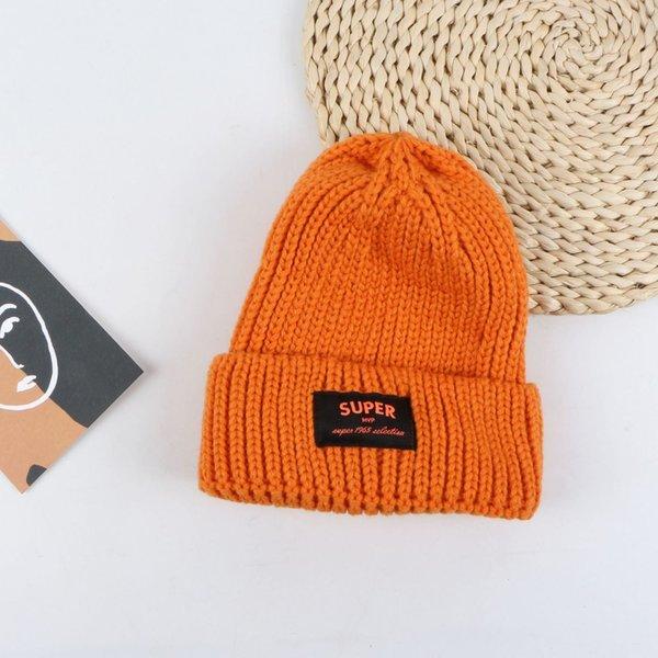 Tapa de lana de etiqueta súper de tela - naranja