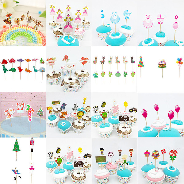 best selling Wholesale Banners 16 Styles Caertoon Cupcake Topper Flower Fairy cake Toppers Picks for Birthday Decorations Home Party Cupcakes Decoration Favor