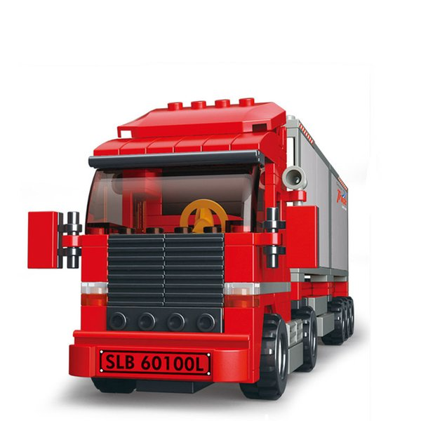 top popular 345pcs Double Van Freight Truck Building Building-block Toys Compatible with inglys DIY Educating Children Christmas Gifts 2020