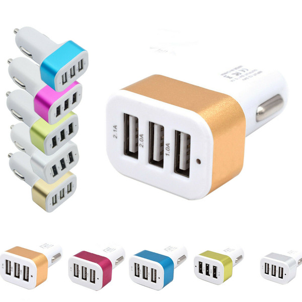 top popular New USB Car Charger 3 Port Phone Charger Adapter Socket 2A 2.1A 1A Car Styling 3 USB Charger Universal for Mobile Phone Pad Chargers 2021