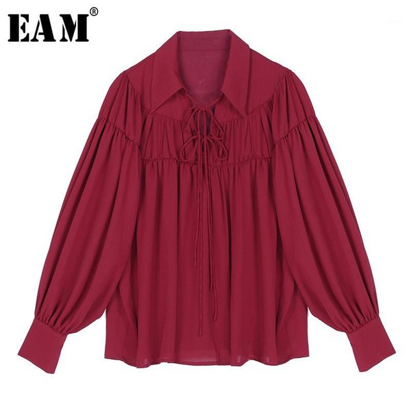 eam] women white bandage pleated temperament blouse new lapel long sleeve loose fit shirt fashion tide spring autumn 2020 1r5451