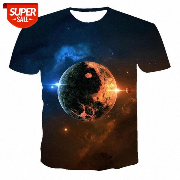 best selling 2021 summer new 3D printed T-shirts in our night starry sky pattern boys and girls solid color simple T-shirts #NE0A
