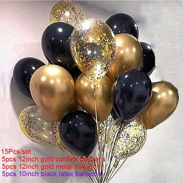 15pcs black gold set
