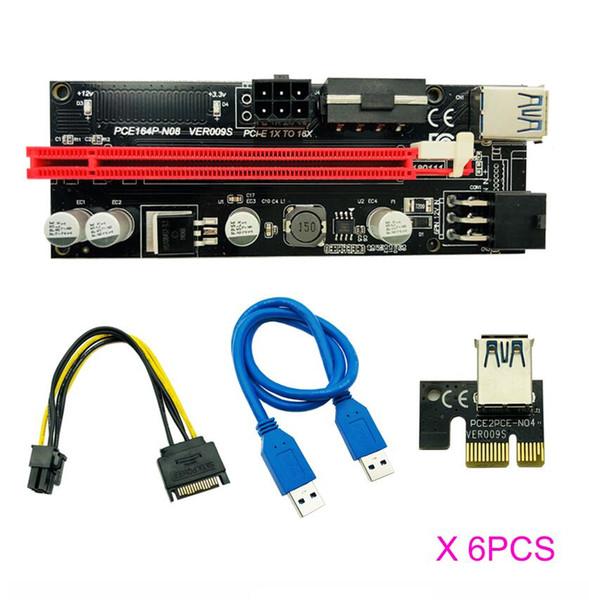 best selling 6pcs Newest USB 3.0 PCI-E Riser VER 009S Express 1X 4x 8x 16x Extender Riser Adapter Card SATA 15pin to 6 pin