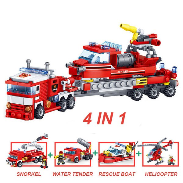 top popular 348 shares Fire truck-helicopter model boat building blocks ings City fire figurines trucks Bricks Baby Toys 2020