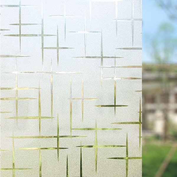 top popular 90*400 cm cross pattern Static cling Decorative window film,non-glue adhesive glass cover sticker for bathroom bedroom office Y200421 2021