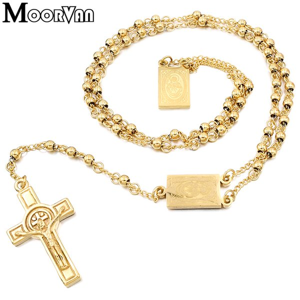 best selling Moorvan 4mm,66cm long gold color men rosary bead necklace Stainless steel Religion of Jesus ,women cross jewelry, 2 colors 201211