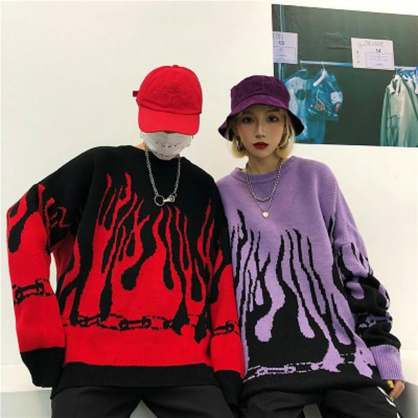 top popular Men & Women Sweater 2020FW Harajuku Flame Knitted Hoodies Loose Long Sleeve Sweater Contrast Color Japan Style Streetwear Pullover 2020