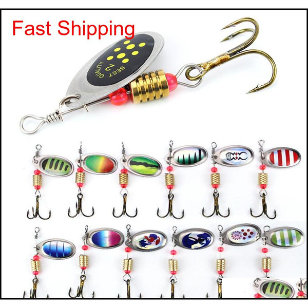 best selling 6Cm 2.5G Metal Carp Fishing Lure Vibration Bait Spinner Spoon Lures Rotating Metal Sequin Wobbler With Treble Hooks B3Q0F Rv7Cj