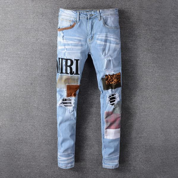top popular New High quality Mens jeans Distressed Motorcycle biker jeans Rock Skinny Slim Ripped hole letter Top Quality Brand Denim Jeans 2021