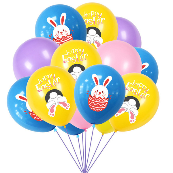 best selling Easter Letters Rabbit Print Balloons Latex Air Balloon Kids Toys Cartoon Bunny Balloon Easter Party Decoration Eggs Festival Supplies G10703