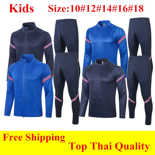 top popular Thailand 2020 SANCHO kids soccer tracksuit STONES KANE boy Survetement RASHFORD Football jacket STERLING child long sleeve training suit 2021