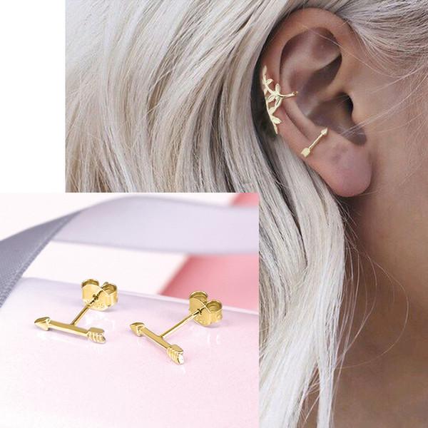 Februaryfrost Brand Designer 100% 925 Sterling Silver Small Arrows Stud Earrings for Women Fashion Designer Women Simple Earrings