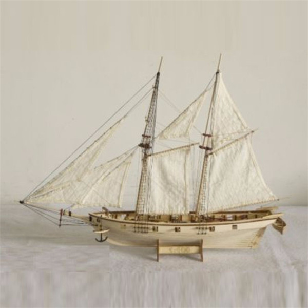 top popular 1:100 Scale Handmade Wooden Wood Sailboat Ship Kits Wooden Ships Model Assembly Birthday Gift Souvenirs Toy Y200428 2021