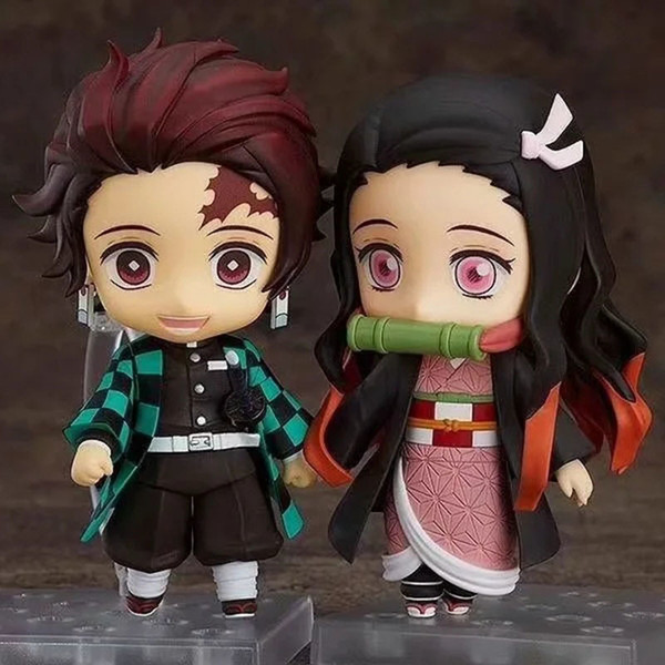 best selling 10 cm Q.ver Kimetsu no Yaiba Kamado Nezuko Tanjirou PVC Action Figure 2 Face 1194 Nezuko Anime Demon Slayer Figurine Toys 201202