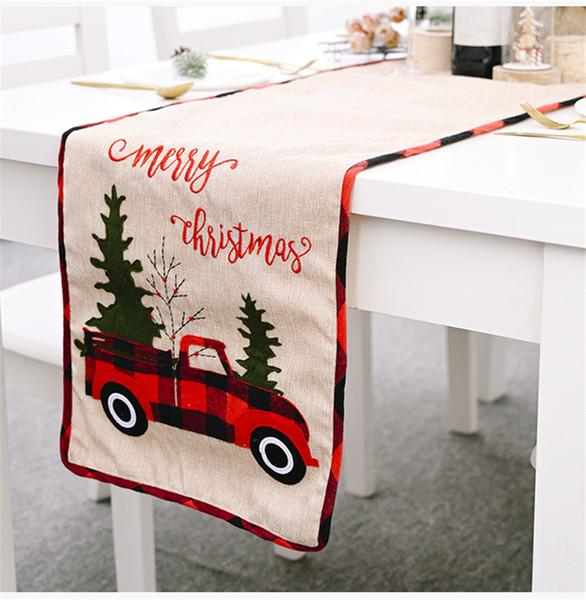 "top popular Christmas Tree Fabric Holiday Table Runner Retro Christmas Farm Buffalo Check Red Truck Print Table Flag 71"" JK2010XB 2021"