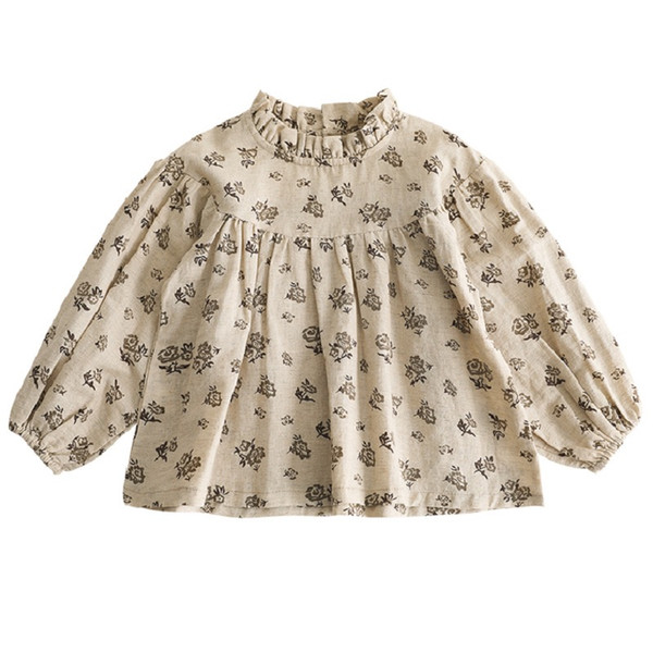 top popular INS Baby Girls Floral Blouse Tops New Kids Children Long Sleeved Shirt Cotton Quality Baby Girls Tees Girls Blouse 2021