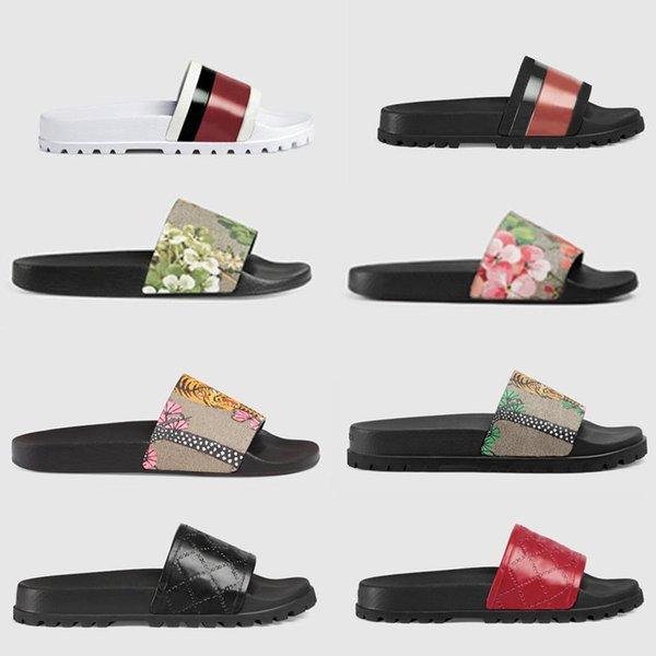 top popular 2021 Designer Rubber slide sandal Floral brocade men slipper Gear bottoms Flip Flops women striped Beach causal slippers size US 5-11 2021