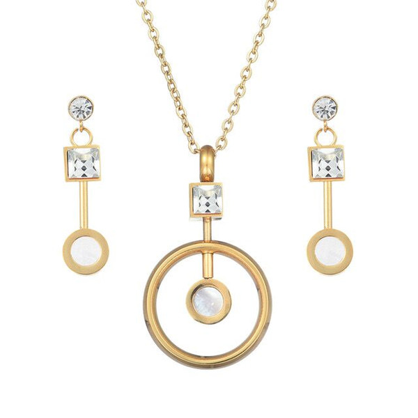 top popular Gold Color Austrian Crystal Classic Hollow Round Necklace Pendant Earrings Jewelry Set 2020