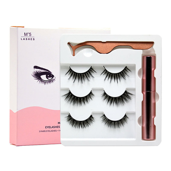 best selling 2021 Hot sale Magnetic Eyelashes 3 Pairs Kit with Eyeliner And Tweezer Reusable 5D Magnetic Lashes No Glue Needed