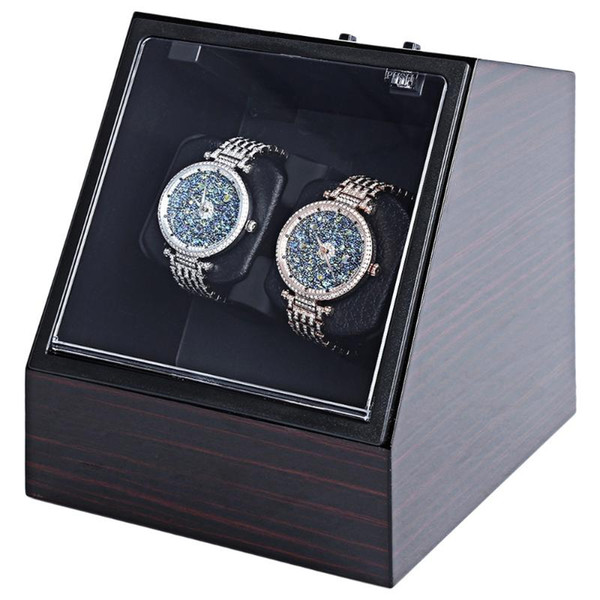 top popular Elegant Wooden Automatic Watch Winder Auto Silent Watch Winder Irregular Shape Transparent Cover Wristwatch Box with US Plug 2021