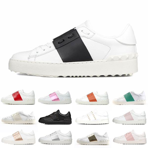 top popular New Men Womem Dress Shoes Pink White Black Red Fashion Mens Women Breathable Leather Shoes Open Low sports Sneakers 35-46 2021